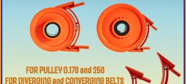 Adjustable protection for diverging and converging belts